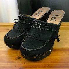 L.E.I. Women's Shoes ~ Black Vegan Suede Moccasin Fringe High Heel Mules ~  8 M #Lei #Mules