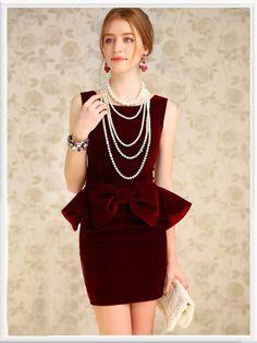 Morpheus Boutique  - Red Bow Velour Sleeveless Round Neck Ruffle Dress