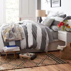 Storage Bed Frame in White from west elm, striped duvet. Home Bedroom, Master Bedroom, Bedroom Decor, Bedroom Ideas, Casual Bedroom, Bedroom Suites, Bedroom Stuff, Dream Bedroom, Bed Frame With Storage