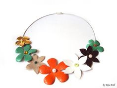Colorful Leather Flowers Bouquet Necklace Flower by BijuBrill