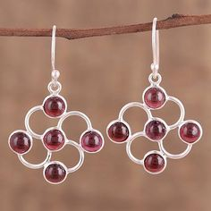 Garnet dangle earrings, 'Blooming Scarlet' - Garnet Cabochon and Sterling Silver Dangle Earrings
