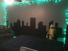 Ninja turtle bedroom skyline wall