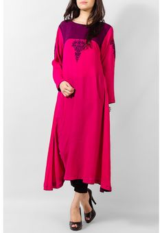 Red Ladies Linen Kurta $44.99 KURTI Pakistani Indian Dresses Online, Men Women Clothing and Shoes | PakRobe.com