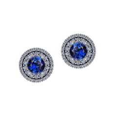 This halo stud earring features vibrant blue sapphires, that pop from within. Sapphire Jewelry, Sapphire Earrings, Cluster Earrings, Sapphire Diamond, Blue Sapphire, Stud Earrings, Earring Crafts, Halo, Rocks