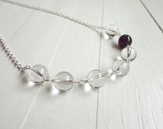 Rock crystal necklace single amethyst stone small chain by tline, $39.00