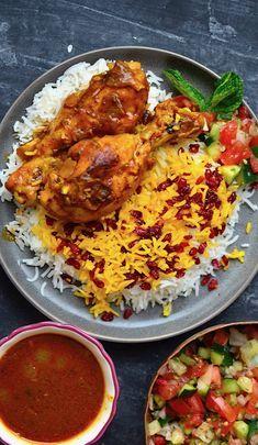 Persian Chicken And Rice Recipe, Iranian Chicken Recipe, Barberry Recipe, Indian Dessert Recipes, Ethnic Recipes, Bhel Recipe, Saffron Chicken, Saffron Recipes, Saffron Rice