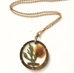 Real Pressed Flower Necklace Pendant  Acacia by flowersfadejewelry