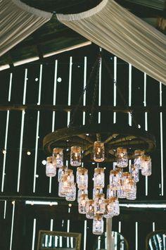 Mason jar wagon wheel chandelier for the barn