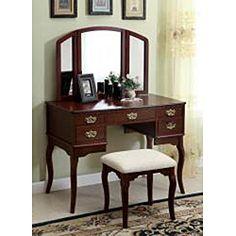 Doris Solid Wood Vanity Table and Stool Set