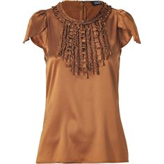STEFFEN SCHRAUT Copper Ruffle Collar Silk Top ($270) ❤ liked on Polyvore