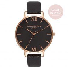 Ladies Big Dial Black and Rose Gold Watch | Olivia Burton London