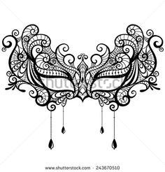 Beautiful lace masquerade mask isolated on white background. Vector illustration