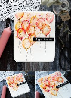 Hottest Pictures Birthday Balloons aesthetic Suggestions Birthday parties tend to be massive activities on home — and with your five kids, find our-self preparation birthday c Watercolor Birthday Cards, Watercolor Cards, Watercolour, Happy Birthday Cards, Birthday Greetings, Birthday Parties, Karten Diy, Doodle Designs, Card Maker
