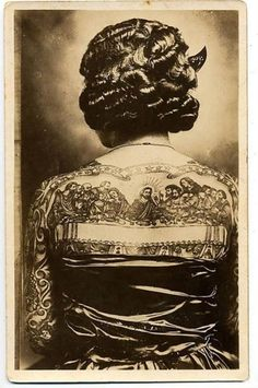 Glossy vintage photo tattoo lady