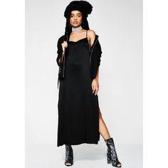 Evil Twin Slither Slip Dress (99 AUD) ❤ liked on Polyvore featuring dresses, black, slip dress, evil twin, evil twin dress, tie dress and slit dress