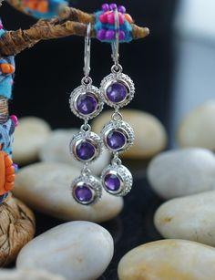 STERLING 925 Vintage Art Deco Pierced Earrings Dangling drop part disks purple stones hammered China Earrings st163 by VintageEstate86 on Etsy