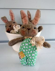 Primitive Bunny Rabbit Tuck Bowl filler ornie Prim by ahlcoopedup, $14.95