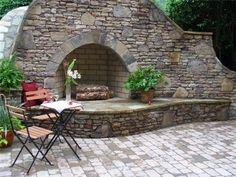 Stone Fireplace  Outdoor Fireplace  Gibbs Landscape Co.  Smyrna, GA