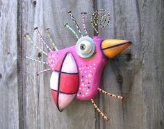 Pink Sparrow, Original Found Object Sculpture, Wall Art, Wood Carving, Wall Decor, by Fig Jam Studio