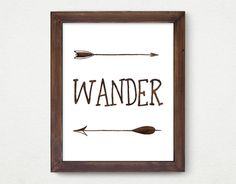 Wander, Digital Print, Wall Decor, Indie Tribal, Typography, Vintage, Calligraphy, Adventure, Trip, Poster Art, Arrow, Feather, Inspiration