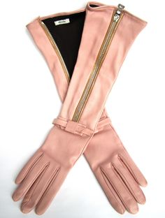 Leather Pink Prada Gloves. Size 7 and zips up the entire length of the forearm, adding such allure and grace to anything you are we...