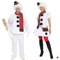 Partner-Kostüm Schneemann und Schneefrau zu Fasching oder Mottopartys