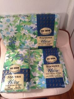 vintage stevens utica muslin full flat fitted sheets u0026 pillowcases nip nos fitted case