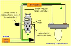 how to wire switches combination switch outlet light fixture turn rh pinterest com Wiring Diagram for Switch and Receptacle Combination Switch Receptacle Wiring