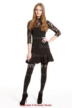 0e183520ed Fashionable Black Graduation Dress Spotlighted with Illusion Neckline and  Ruffled Hem Black Dress With Sleeves