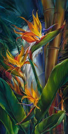 """Vie Dunn-Harr - Paradise and Her Birds - oil on canvas - 30""""x 15"""""""