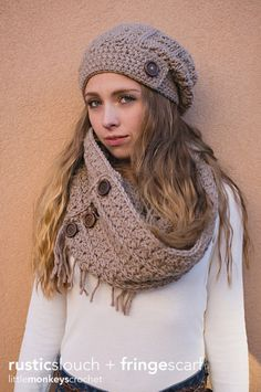 Rustic Slouch Crochet Hat and Infinity Scarf Patterns by Little Monkey Crochet
