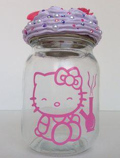 Hello Kitty Stash Jar! $24.99 https://www.etsy.com/listing/186842576/bling-bedazzled-glass-mason-jar-stash