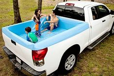 Say goodbye to the tacky tarps and bungee cords and say hello to the Pick-up Pool. The Pick-up Pool is the ultimate truck bed swimming pool. It's the perfect party accessory and a great way to cool off, anywhere. Truck Camping, Tent Camping, Camping Gear, Camping Hacks, Truck Tent, Glamping, Car Hacks, Camping Equipment, Pick Up