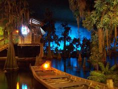 The Pirates of the Caribbean ride uses gallons of water to float 46 bateaux (Creole for boat) carrying 22 guests each. Visitors float past 119 animated characters and 64 human ones. The pirate galleon bombing the village is known as the Wicked Wench Charles Vane, Great Places, Beautiful Places, Swamp Theme, Walt Disney Imagineering, Blue Bayou, Vintage Disneyland, Halloween, Pirates Of The Caribbean