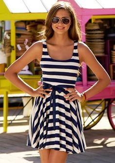 MODE THE WORLD: Nautical Belted Stripes Dress