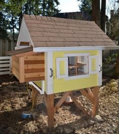 Building a chicken coop for $50 out of an old kitchen cabinet and bed frame!