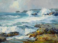 Jack Wilkinson Smith (American, 1873-1949) Surging surf 18 x 24in overall: 26 x 32in