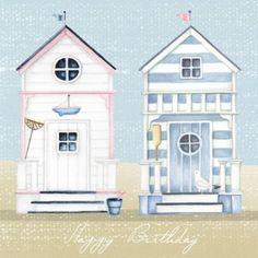 Art, Illustration & Design by Nicola Jane Rabbett Beach Huts Art, Beach Art, Deco Marine, Image Deco, Cottage Art, House Drawing, Marianne Design, Am Meer, Beach Scenes