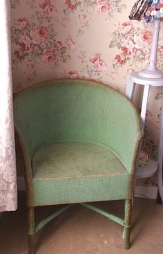 Original Chair with gold trimGreen Wicker