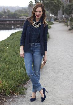 Sydne Style - Plaid Shirt Navy Blazer navy pumps   it's all about the cut of the jacket!