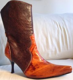MARCO COLLUCCII COLLECTION Women sz 6 M LEATHER COWBOY Boot High Orange #MarcoColluccii #CowboyWestern