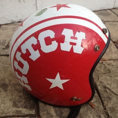 Old skool! I remember wanting one when I rode bmx bikes back in the day. Cool Motorcycle Helmets, Biker Helmets, Cool Motorcycles, Bmx Bikes, Vintage Helmet, Vintage Racing, Helmet Head, Bmx Freestyle, Harley Bikes