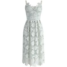 Chicwish Ebullience of Flowers Crochet Cami Dress in Mint (879.180 IDR) ❤ liked on Polyvore featuring dresses, green, floral print dress, green cami, mint green dress, floral cami and flower dress