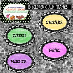 20 Colored Chalk Frames-Set 1 for Personal and Commercial Use