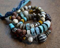 Hippie Bracelet Rustic Boho Bracelet Memory Wire by JeSoulStudio