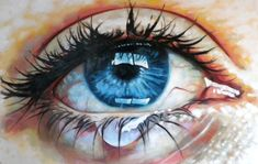 "Saatchi Online Artist: thomas saliot; Oil 2013 Painting ""Close up teary eye"""
