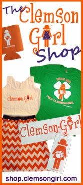 Clemson Girl is a blog for the fashion forward, girlish, hardcore tiger fans to share and talk about anything Clemson and girlish. This blog will feature links and ideas for game day outfits, as well as reader submitted photos of their game day fashions. From tips on the right shoes to wear and how to stay cool at your tailgate to updates on Clemson sports and athletes, this site will help you look your best on gameday and connect you to anything and everything Clemson!