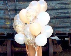Gold Confetti Balloons Set of 3 Confetti by LolasConfettiShop