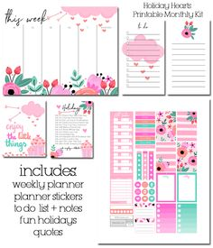 Free Printable Holiday Hearts Monthly Planner Kit from Fit Life Creative Happy Planner Cover, To Do Planner, Planner Layout, Free Planner, Planner Pages, Weekly Planner, Planner Stickers, Planner Ideas, Planner Covers