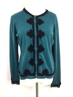 Michael Simon Womens Cardigan Sweater Green Blue Embroidered Size L #MichaelSimon #Cardigan